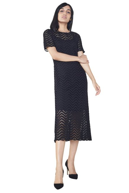 c3acc7d62aceb Buy AND Black Lace Midi Dress for Women Online @ Tata CLiQ