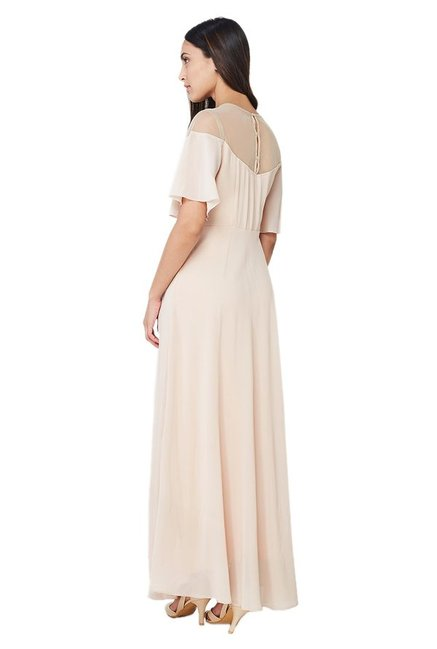 AND Beige Embroidered Maxi Dress