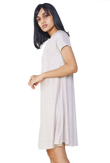AND Off White Textured Swing Dress