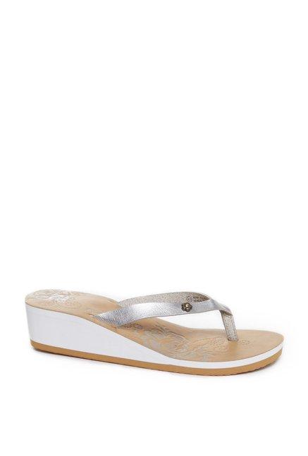 78cb8bf634a0 Buy Head Over Heels by Westside Silver Flip-Flops For Women Online ...