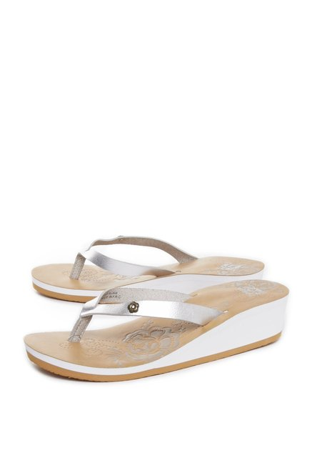 608a8aadb481 Buy Head Over Heels by Westside Silver Flip-Flops For Women Online At Tata  CLiQ