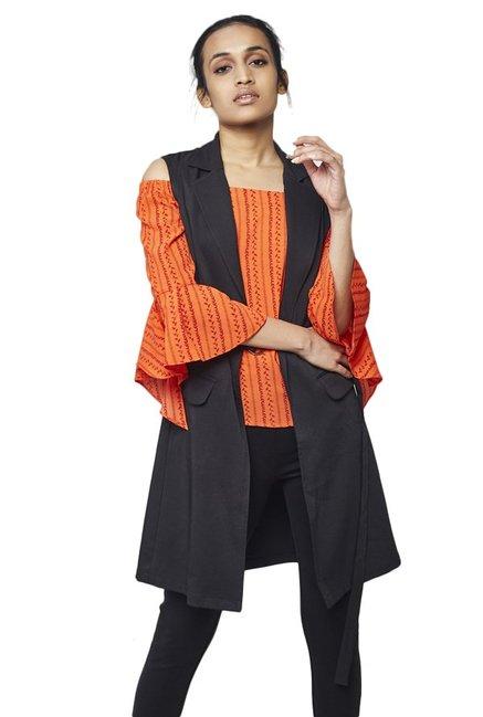 1a1926e81c9b0f Buy AND Black Tuxedo Sleeveless Jacket for Women Online   Tata CLiQ