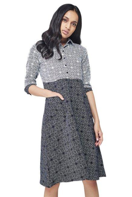 3386144b9cb6 Buy AND Black   White Printed Knee Length Dress for Women Online ...