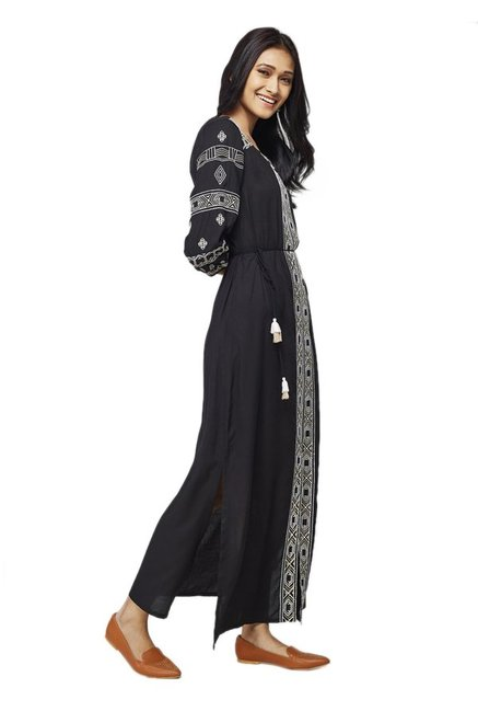 Global Desi Black & Off White Embroidered Maxi Dress