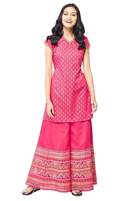 Global Desi Pink Printed Kurta With Palazzo