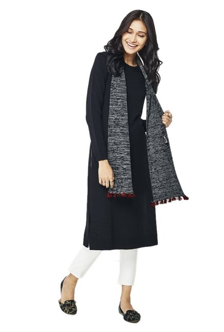 Global Desi Black Textured Acrylic Kurta