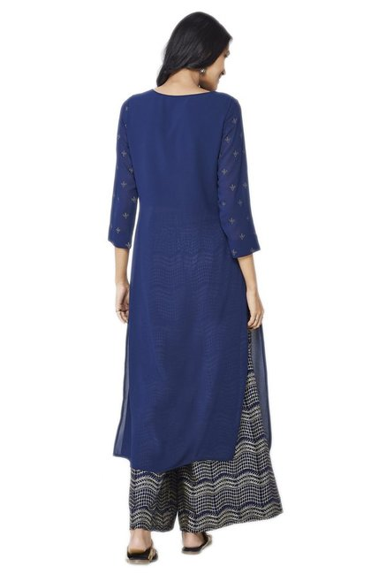 Global Desi Navy & Beige Printed Kurta With Palazzo