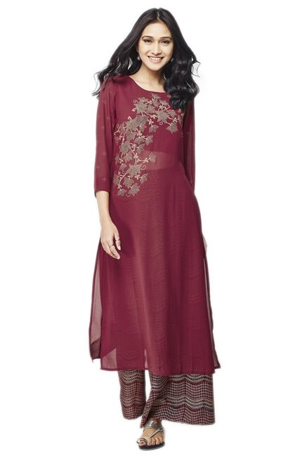 Global Desi Maroon & Beige Printed Kurta With Palazzo