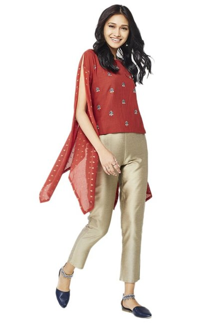Global Desi Rust Embroidered Top