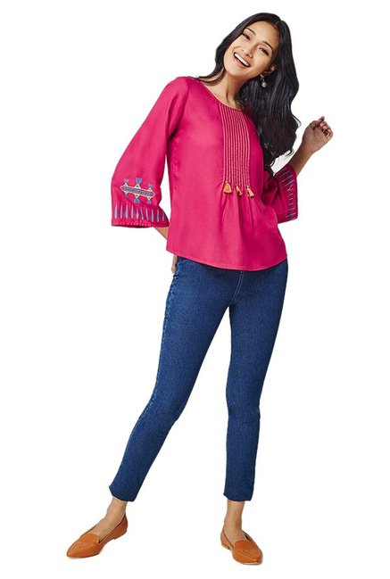 Global Desi Pink Regular Fit Top