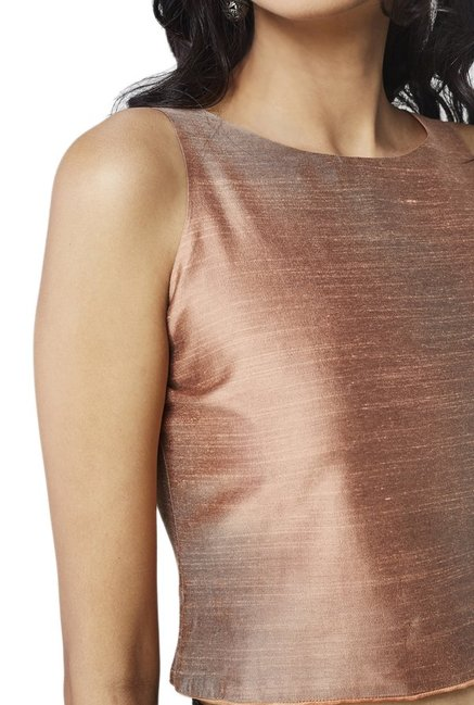 Global Desi Peach Textured Crop Top