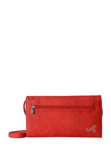 Baggit Global Forest Brick Red Stitched Flap Wallet