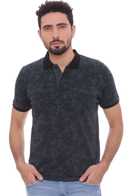 848941e9a0 Buy Basics Dark Grey Printed Cotton Polo T-Shirt for Men Online   Tata CLiQ