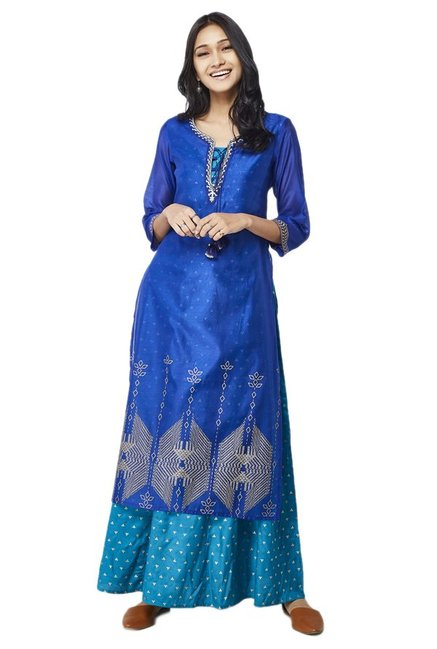Global Desi Blue Printed Kurta With Sharara