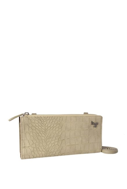 Baggit Scotty Croco Beige Textured Wallet