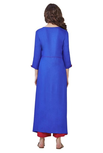 Global Desi Ink Blue Viscose Long Kurta