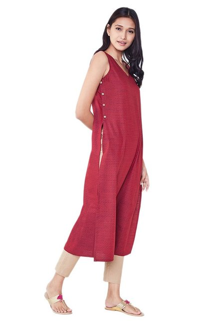 Global Desi Maroon Printed Cotton Polyblend Kurta