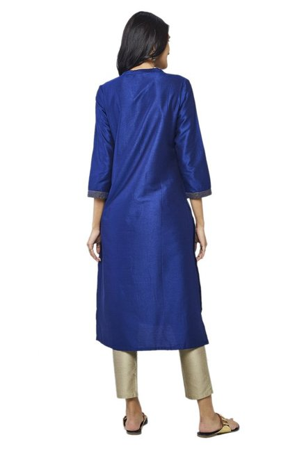 Global Desi Ink Blue Embroidered Viscose Kurta