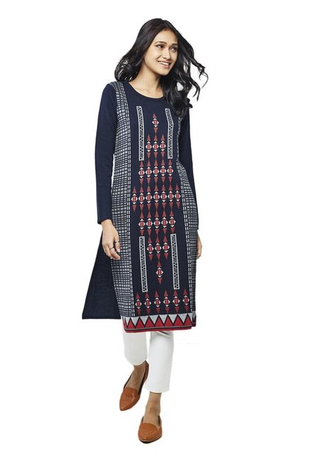 Global Desi Navy Printed Acrylic Kurta