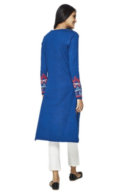 Global Desi Blue Printed Acrylic Kurta