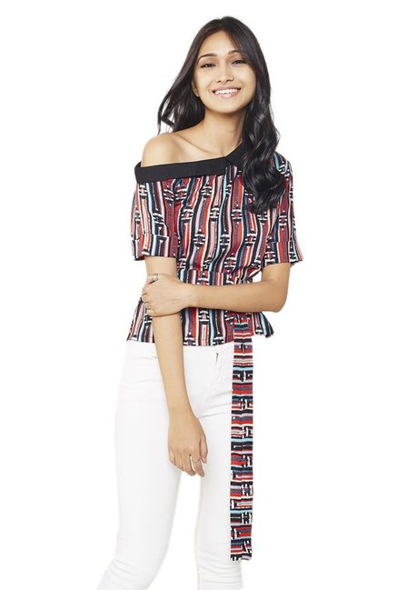 Global Desi Multicolor Printed Crop Top