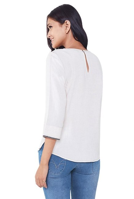 Global Desi Off White Embroidered Top