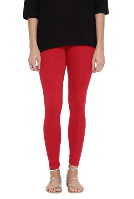8078e9e07a Buy Global Desi Red Slim Fit Leggings for Women Online   Tata CLiQ
