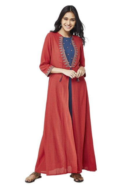 Global Desi Rust & Navy Maxi Dress With Jacket