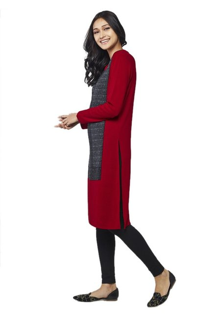 Global Desi Red & Grey Printed Acrylic Kurta