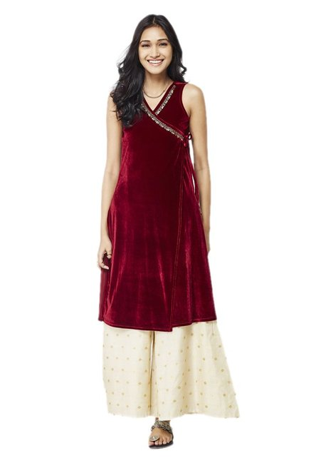 Global Desi Maroon & Beige Kurta With Palazzo