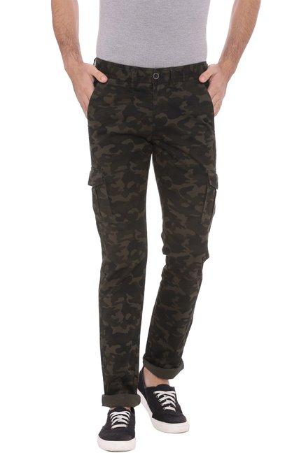49c762b2 Buy Basics Olive Printed Mid Rise Cargo Pants for Men Online @ Tata CLiQ