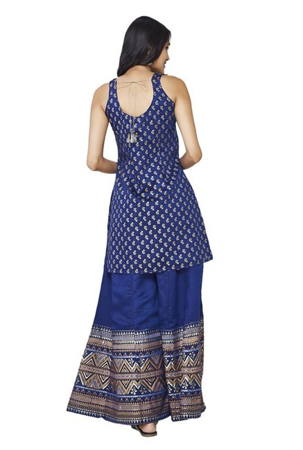 Global Desi Ink Blue Printed Kurta With Palazzo