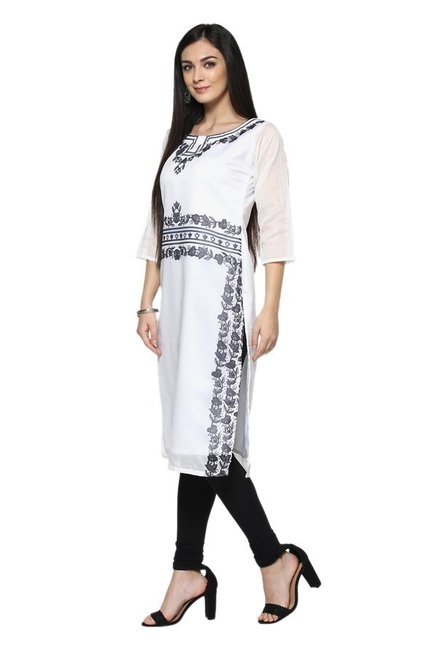 Ziyaa White Printed Chanderi Straight Kurta