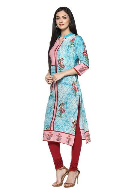 Ziyaa Blue & Pink Floral Print Cotton Straight Kurta