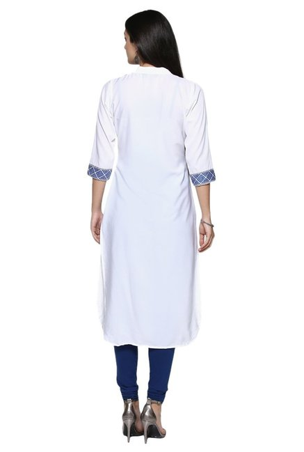 Ziyaa White & Blue Printed Crepe Straight Kurta