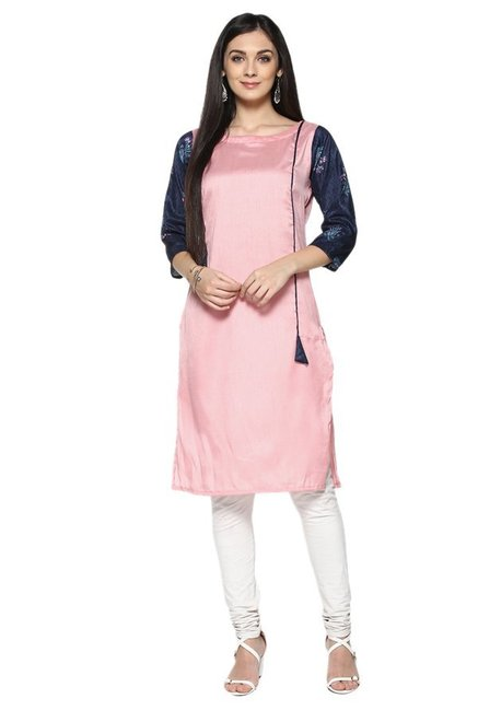 Ziyaa Pink Textured Poly Silk Straight Kurta