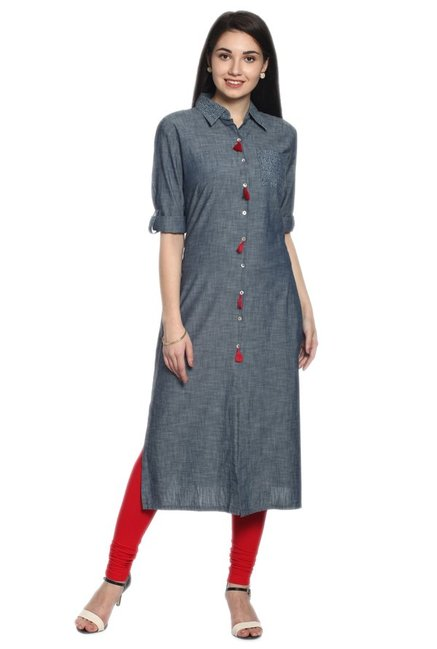 Soch Grey Textured Denim Kurta