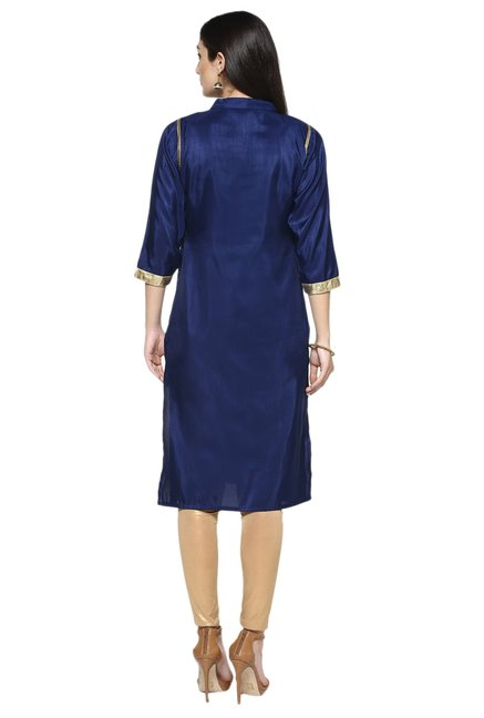 Ziyaa Navy Printed Poly Silk Straight Kurta