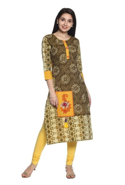 Soch Olive Printed Cotton Kurta