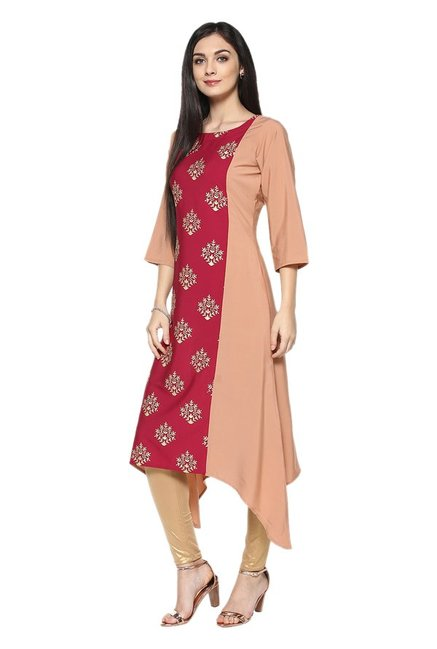 Ziyaa Peach & Red Printed Crepe Kurta