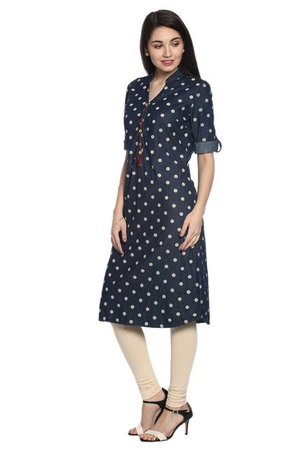 Soch Navy Polka Dot Denim Kurta