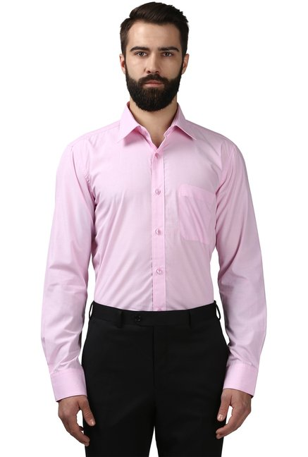 6ead59f3f62 Buy Raymond Light Pink Regular Fit Shirt for Men Online   Tata CLiQ