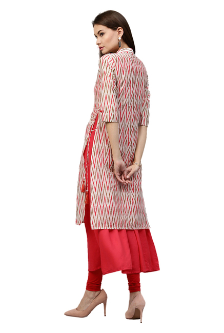 Jaipur Kurti Red & White Printed Chanderi Long Kurta