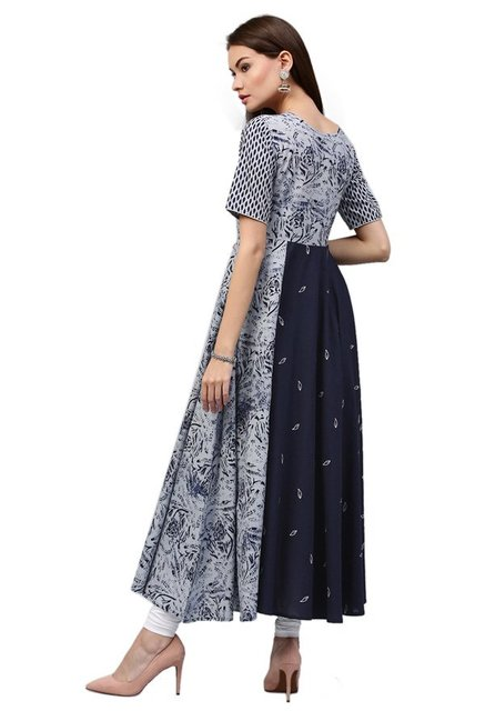 Jaipur Kurti Navy Printed Cotton Long Kurta