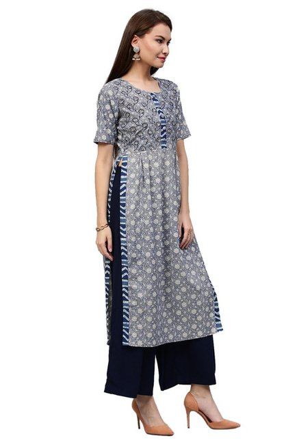 Jaipur Kurti Navy Floral Print Cotton Long Kurta