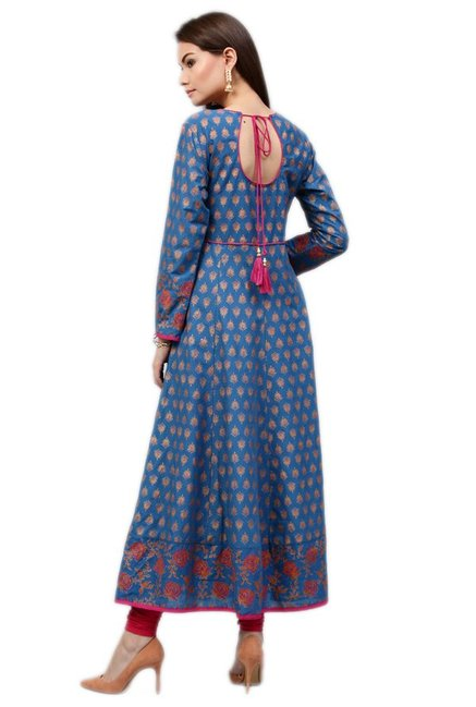 Jaipur Kurti Blue Printed Cotton Long Kurta