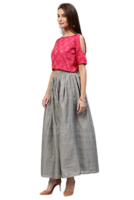 Jaipur Kurti Pink & Grey Jacquard Crop Top With Skirt