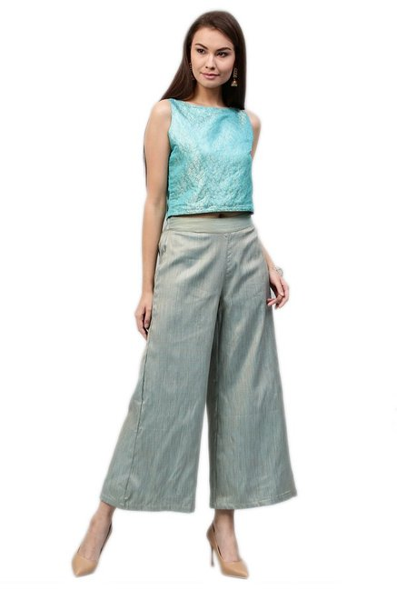 Jaipur Kurti Blue & Grey Brocade Crop Top With Palazzo