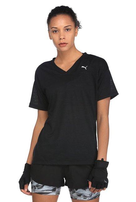 ac24ce52a3d Buy Puma Black Textured Boyfriend T-Shirt for Women Online @ Tata CLiQ