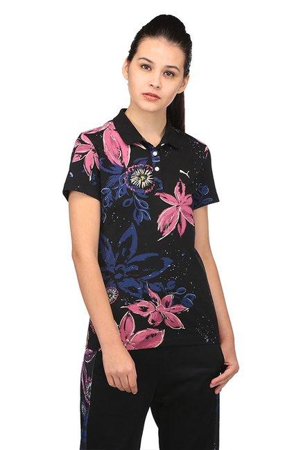 14219567903 Buy Puma Black Floral Print Polo AOP T-Shirt for Women Online ...